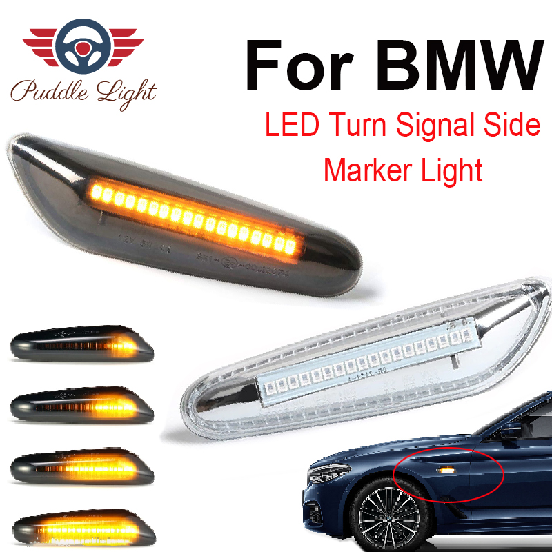 2Pcs Sequential Flashing LED Turn Signal Side Marker Light for <font><b>BMW</b></font> E46 E60 E61 E81 <font><b>E82</b></font> E83 E84 E87 E88 E90 E91 E92 E93 X1 X3 X5 image