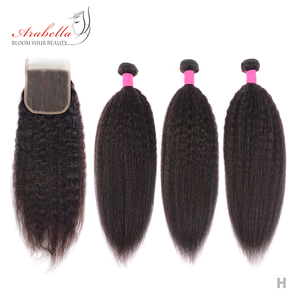 Kinky Straight  Bundles With Closure 100%  Hair Bundles With Pre Plucked 4X4 Lace Closure Arabella 1