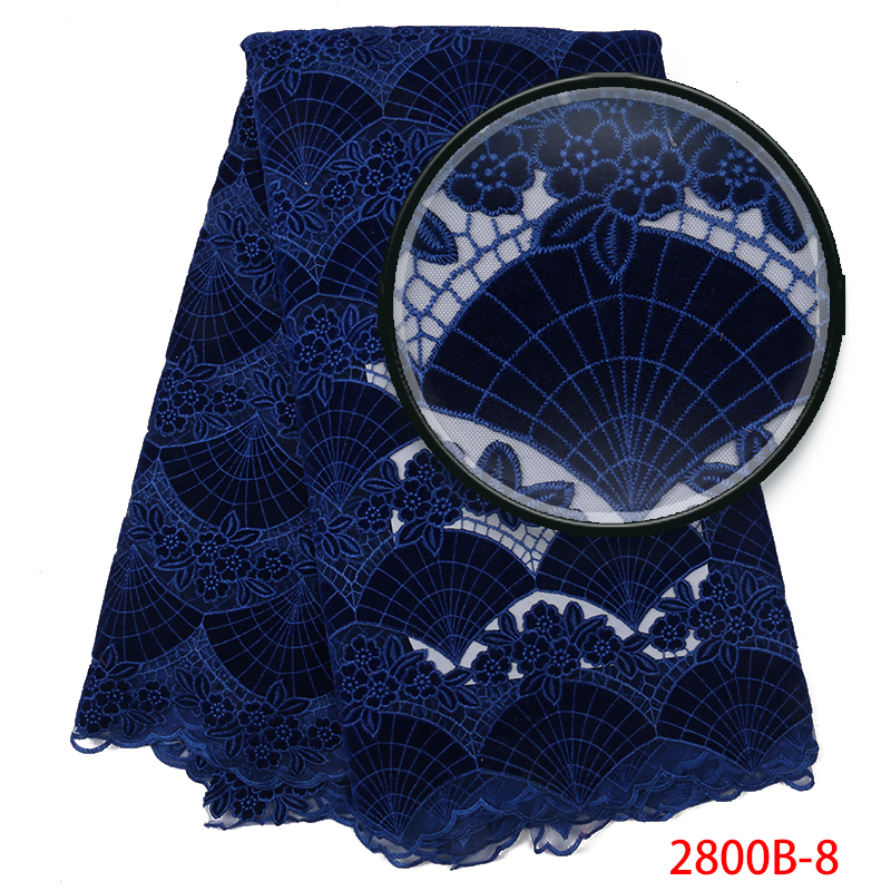 High Quality African Velvet Lace Fabric Latest Style Royal Blue Velvet Tulle Lace Fabric Nigerian Laces Fabrics KS2800B-8