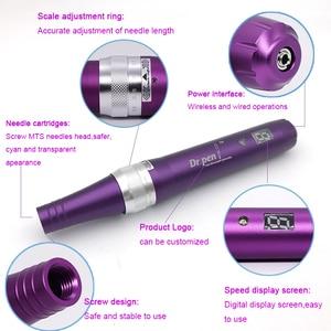 Image 4 - האחרון חשמלי Dr. עט X5 W אלחוטי Derma עט עם מהירות תצוגה דיגיטלית בורג 12pin מחט מחסנית עבור עור פנים טיפול MTS