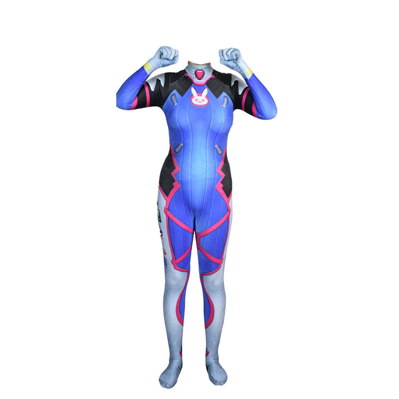 Game Overwatch Dva Cosplay Jumpsuit Costume Female Adult Child Zentai Wig Suits Lycra 3D Printing Romper Halloween Party 2