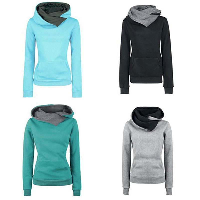 Women Autumn Solid Color Casual Sweaterpullovers Hoodies Turn Down Collar Women Clothes