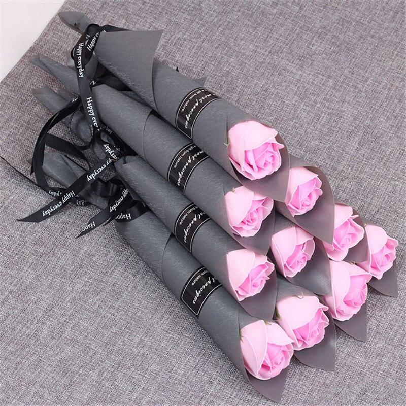 Мыло цветок розы искусственный цветок букет многоцветная Роза свадебный цветок украшение Скрапбукинг искусственный цветок Роза - Цвет: pink 1pc