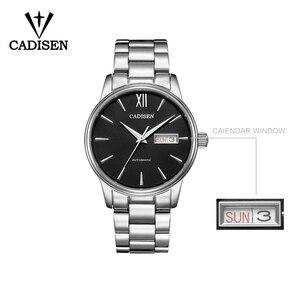 Image 2 - CADISEN Automatic Mens Mechanical Watch Waterproof Week Calendar Double Show Business Gentleman Man Style Steel Band Watch