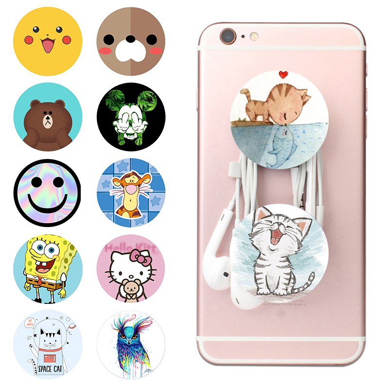 Popping Round Socket Cute Hot Phone Holder Color Painting Pocket Socket Expanding Stand Grip попсокет For All Smartphones