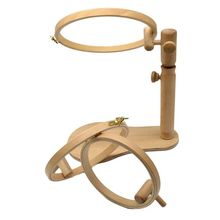 Wood Embroidery Hoop Stand Cross Stitch Needlework Ring Frame Sewing Tool Adjustable 35 45cm