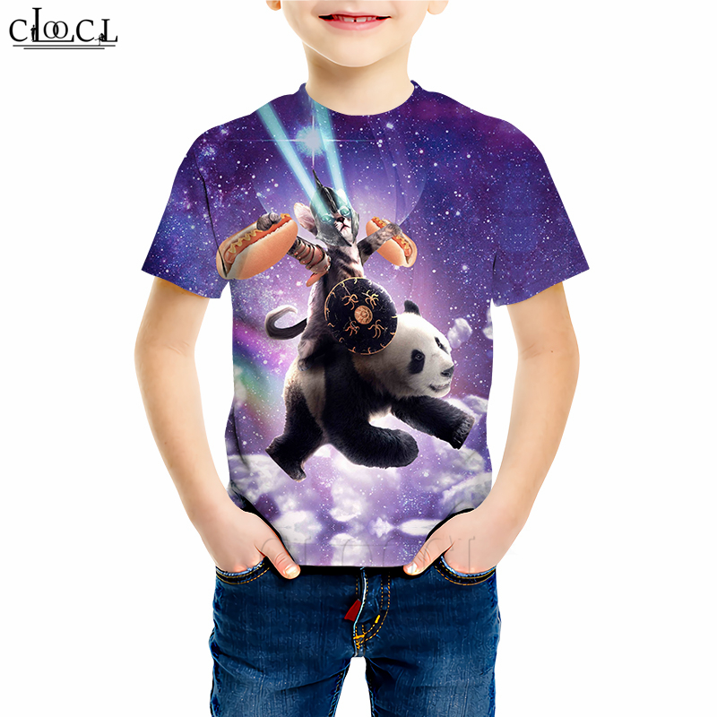 Fox Art Painting Youth Kids T Shirt 3D Printed Short Sleeve Crew Neck Tees Shirts for Boys Children