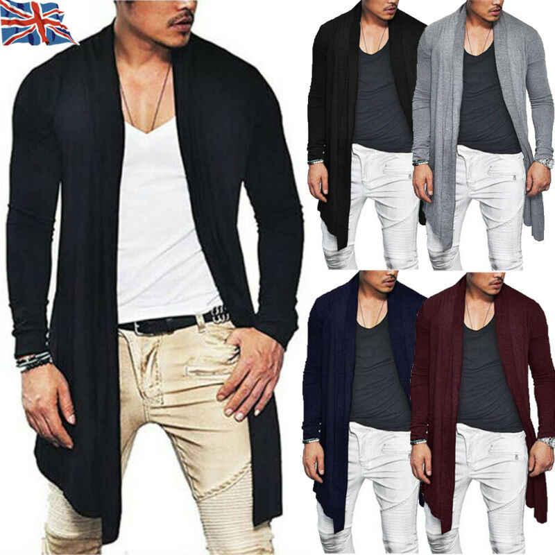 Chaqueta larga de Color sólido para hombre, de manga larga, de punto, informal, a la moda, para otoño y primavera