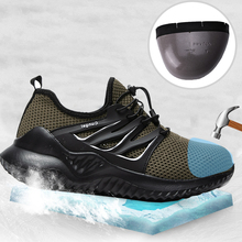 YEINSHAARS Mens Steel Toe Work Safety Shoes Casual Breathable Outdoor Sneakers Puncture Proof Boots Comfortable Industrial Shoe