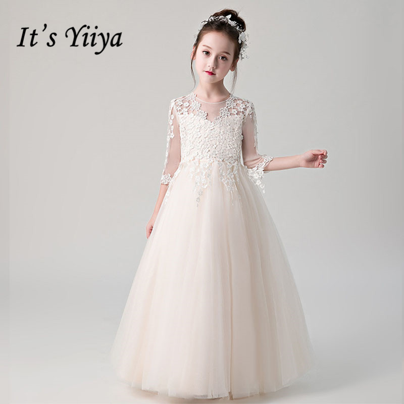 Champagne Flower Girl Dresses For Weddings It's Yiiya B037 Kids Communion Dress 2020 New Three Quarter Sleeve Tulle Ball Gowns