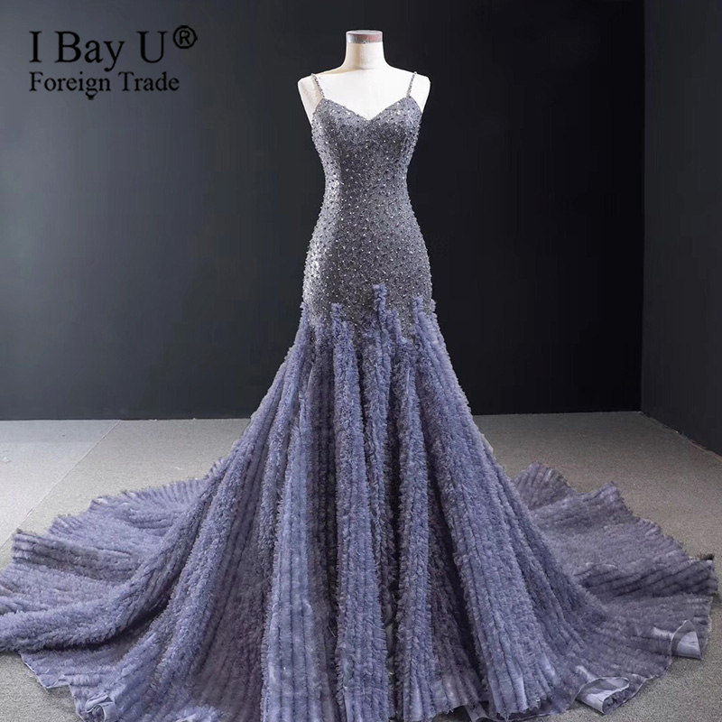 Indigo Big Train Beading Mermaid Evening Dresses 2020 Sexy Simple Formal Evening Gowns Custom Made
