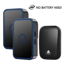 New Self-powered Waterproof Wireless Doorbell No Battery Need US EU UK Plug LED Doorbell 150M Remote Home 60 Ring Calling Bell