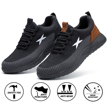 Safety Work Shoes  Men Steel Toe Cap Anti-smashing Working Boots Breathable Outdoor Construction Mesh Sport Shoes Plus Size big size men fashion breathable steel toe cap working safety shoes genuine leather slip on tooling boots protection footwear