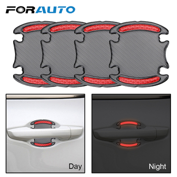 FORAUTO Car Safety Sticker Door Handle Door Bowl Warning Tape Reflective Strip Car Sticker Carbon Fiber Anti-scratch Car-styling