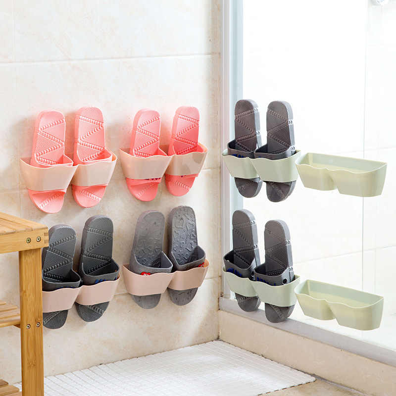 Wall-Mounted Sticky Hanging Shoe Hook Shelf Rack Shoes Holder Storage Hot Plastic Shoe Shelf Stand