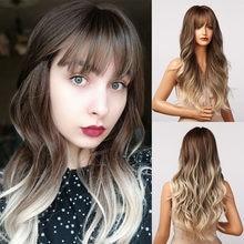 HENRY MARGU uzun kahverengi Ombre dalgalı sentetik peruk patlama ile doğal saç peruk kadınlar için isıya dayanıklı günlük Cosplay peruk