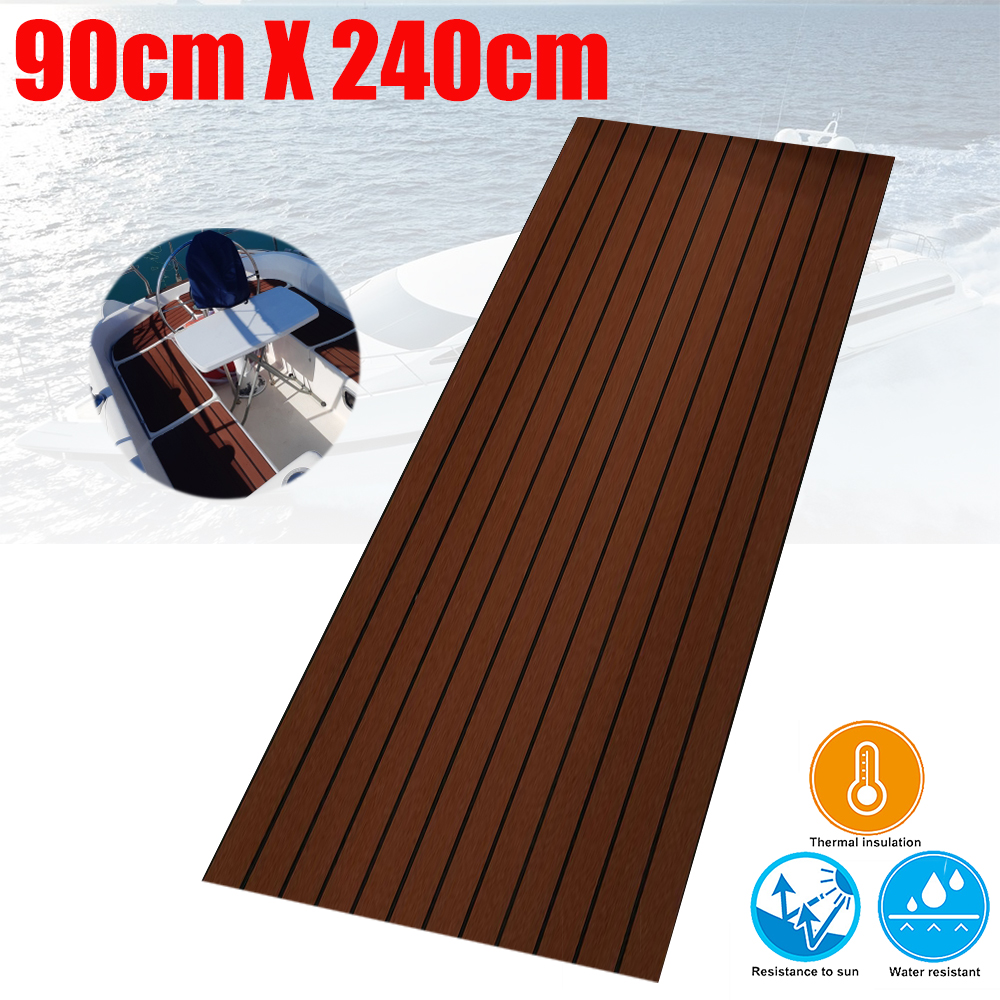 Boat Decking Sheet With Bevel Edge Yacht Marine Flooring Carpet 90cm240cm6mm Dark Brown With Black Caulking Boats Accessories