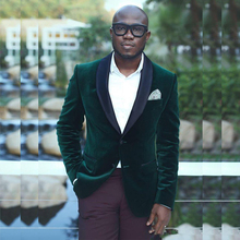 In Stock Green Slim Fit Velvet Mens Blazer Black Shawl Lapel One Pieces Wedding Jacket Cheap Tuxedos