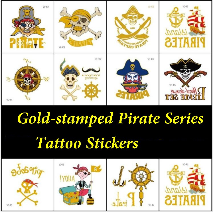 10PCS, Environmental Waterproof Pirate Tattoo Sticker Personality Party Tattoo For Role Playing
