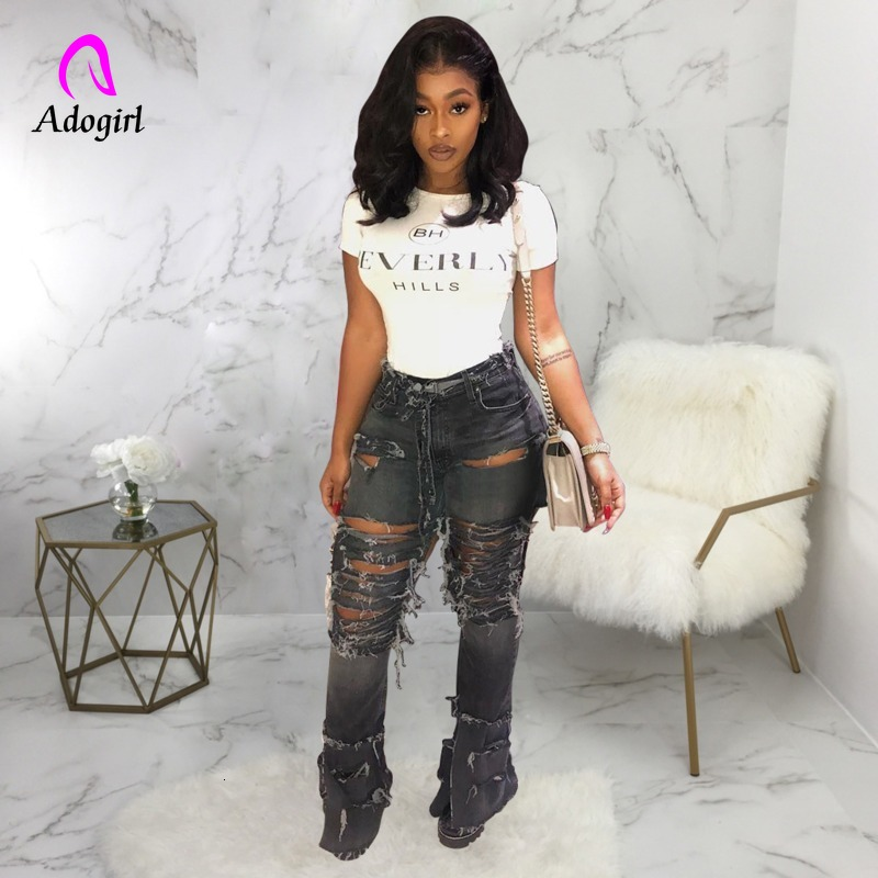 Fashion Denim Skinny Pants Women Retro Ripped Jeans Wide Leg Trousers Hole Casual Bell-Bottoms Flare Pant Female
