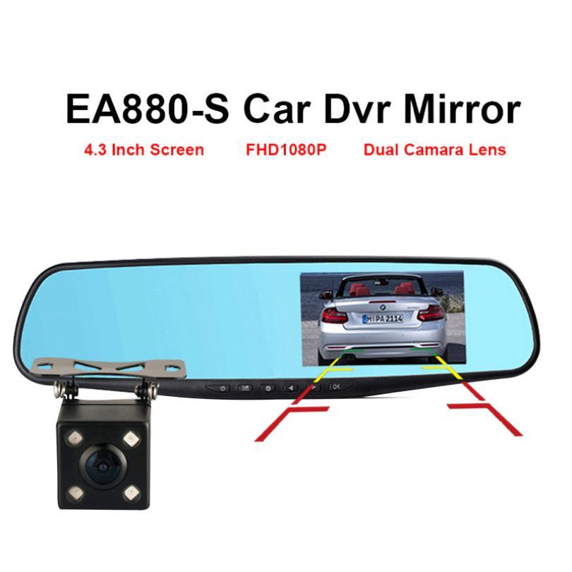 4,3 zoll fahren recorder HDradar detektor Dual Objektiv Auto DVR Dash Cam Vorne und Hinten Spiegel Kamera Video Recorder zubehör