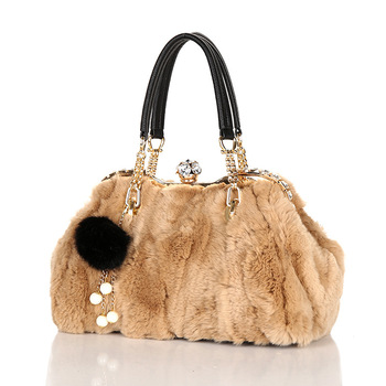 Luxury Brand Crystal Women Bags Fashion Winter Woman Real Rabbit Fur Bag For Ladies Shoulder Messenger Bag