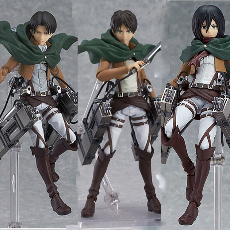 Anime Attack On Titan PVC Action Figures Eren Mikasa Ackerman Levi Rivaille Figma 203 207 213 Figurine Collective Toy