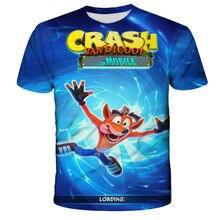 2021 bebê engraçado 3d crash bandicoot t-shirts crianças personalizado manga curta t camisas verão de alta qualidade engraçado das crianças roupas topo