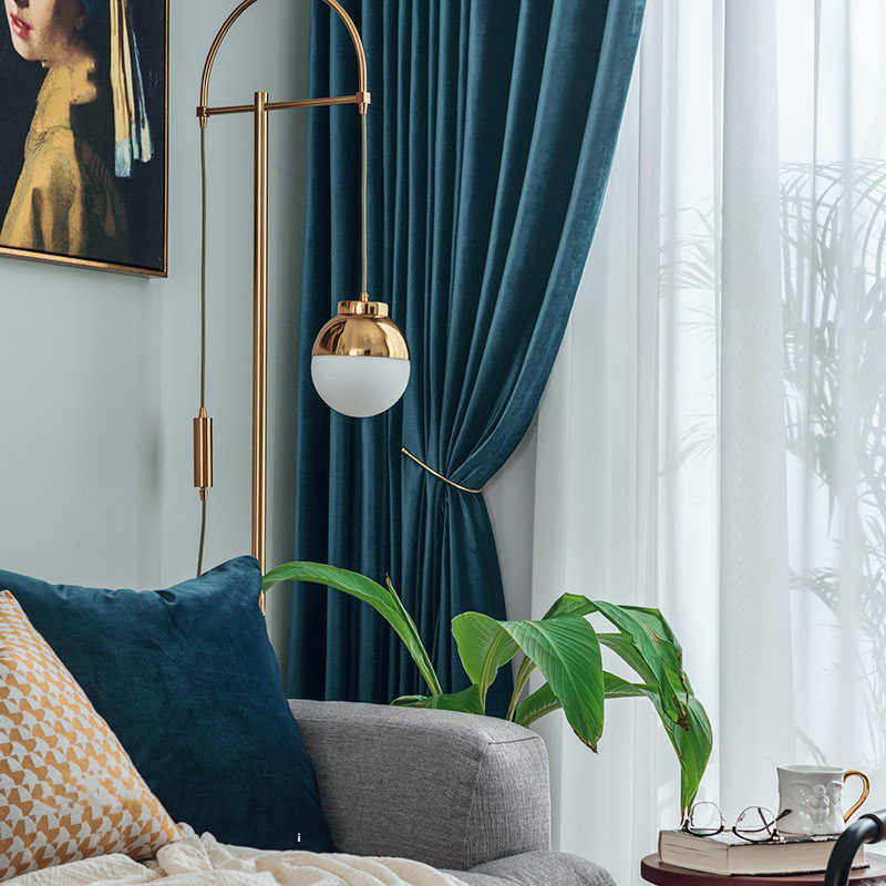 Nordic Blue Velvet Curtains Luxury Grey Blue Cloth Curtains For