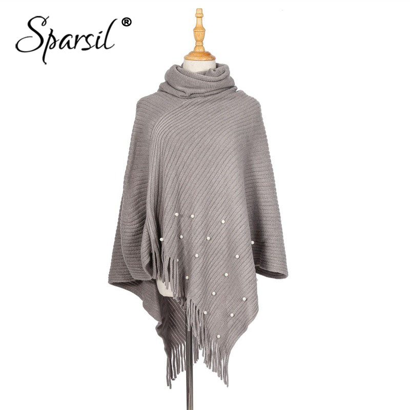 Sparsil Women Pearl Tassel Turtleneck Pullovers Shawl Scarf Cashmere Warm High Collar Solid Color Big Cape Blanket Wraps Female