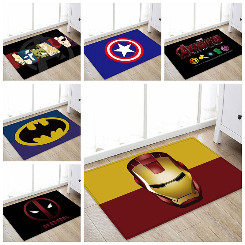 1pcs 40x60cm Marvel The Avengers Plush Carpet Iron Man Captain America Batman Rug Cotton Christmas Gift For Kids Drop Shipping