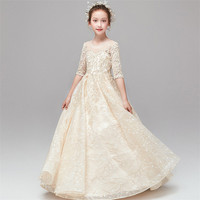 3~14T Children Girls Exquisite Embroidery Lace Design Half Sleeves Birthday Wedding Party Princess Dress Kids Host Ceremony Wear