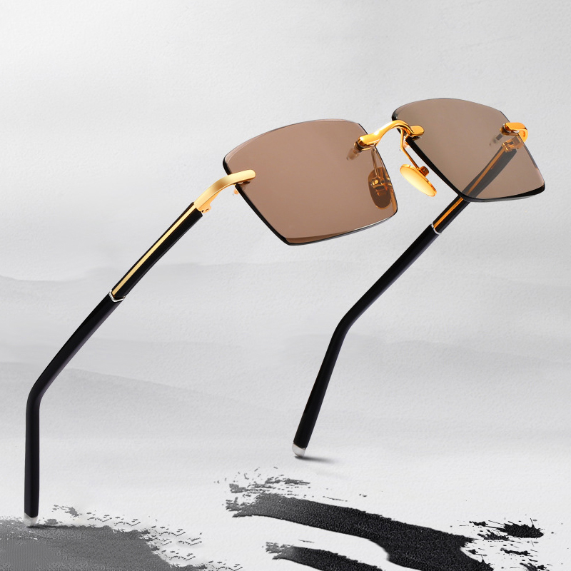 Rimless Sunglasses Men Women Luxury Crystal Stone Lens Sun Glasses Vintage Retro Sunglass Shades Clear Lens Eyewear UV400 Oculos