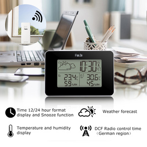 Image 2 - FanJu FJ3364 Weather Station Digital Clock Wireless thermometer hygrometer Sensor LED Alarm Snooze Table Clocks Tools DCF