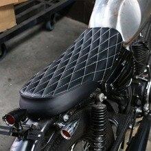 Asiento de cuero Retro de la motocicleta CG125 asiento de la silla de montar de la vendimia asientos de cuero del Café Racer forma de rombo cojín