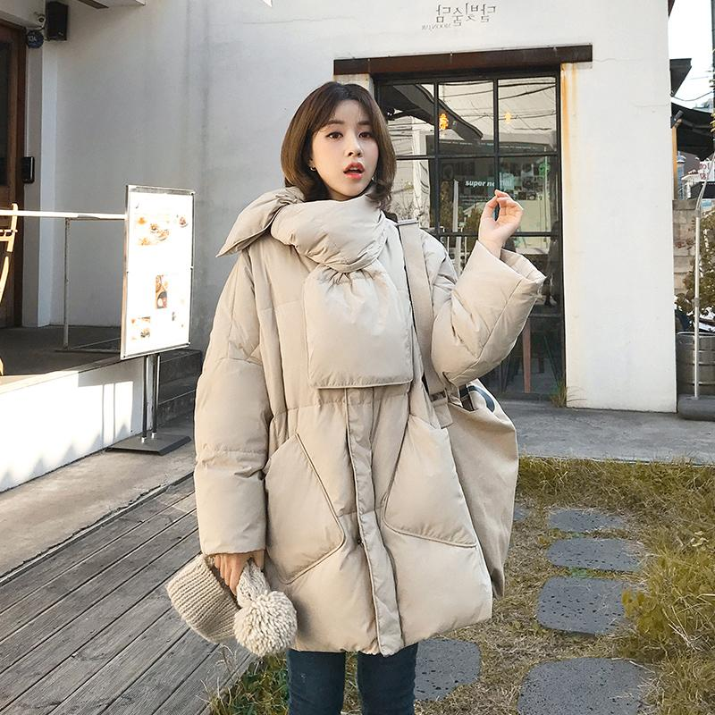 2019 Winter Jacket Women Solid With Scarf Warm Female 90%White Duck   Down   Jacket   Down     Coat   Loose Oversized Womens Long   Down   Parka