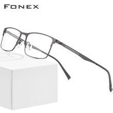 FONEX alaşım optik gözlük 2019 kare miyopi reçete gözlük çerçevesi erkekler erkek Metal tam kore gözlük gözlük 9287