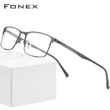 FONEX alliage lunettes optiques 2019 carré myopie Prescription lunettes cadre hommes mâle métal pleine corée lunettes lunettes 9287