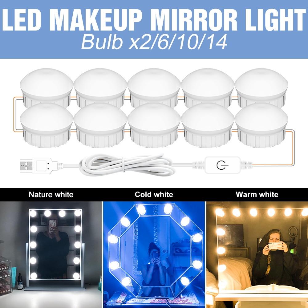 Led Mirror Vanity Light USB Led Dressing Table Led Lamp 3 Colors Dimmable Makeup Light 2 6 10 14Bulb Bathroom Lighting Wall Lamp