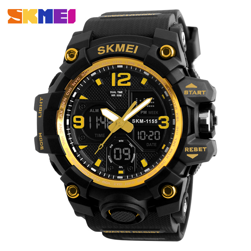 Men Sports Watches SKMEI Brand Digital LED Black  Shock Swim Quartz Rubber Wristwatches Waterproof Clock Relogio Masculino 1155B