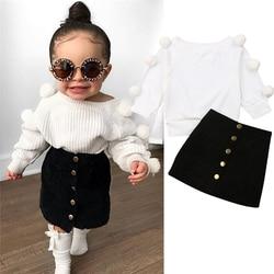 0-18 meses Do Bebê Roupas de Menina Listrado Camisola Branca Com Pompons Em Saias Longas Mangas E Preto Sólido