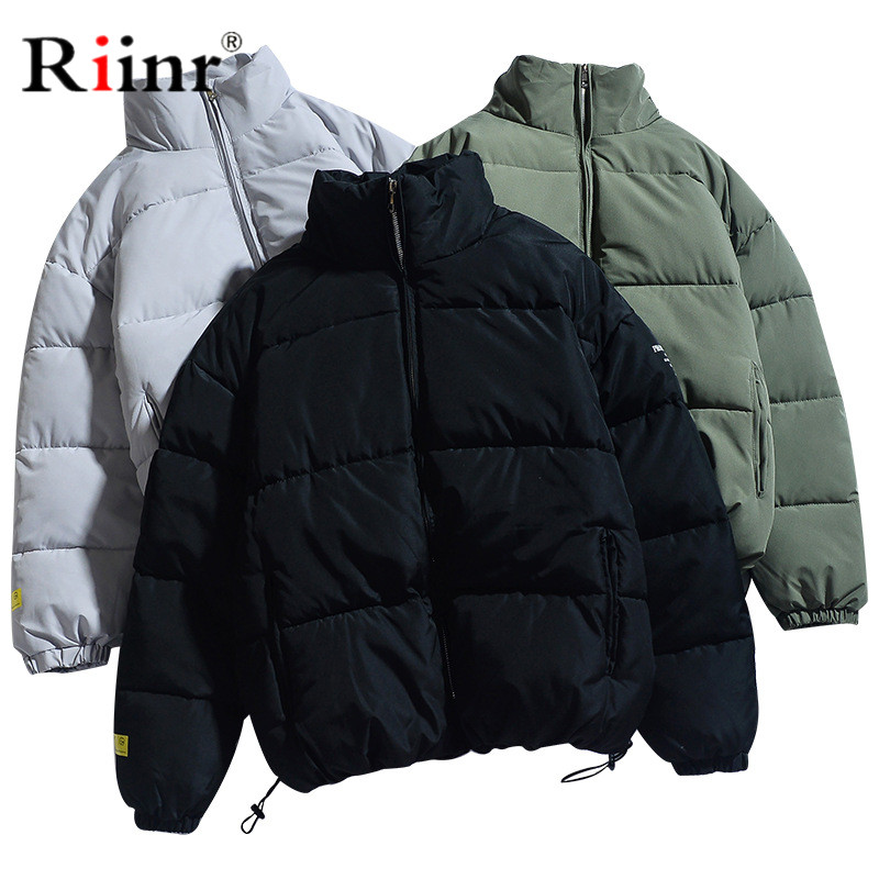 Riinr Men's Winter Jacket Parka Male Warm Coat Simple Casual Men Hooded Solid Color Stitching Jacket Parka Big Pocket Coats