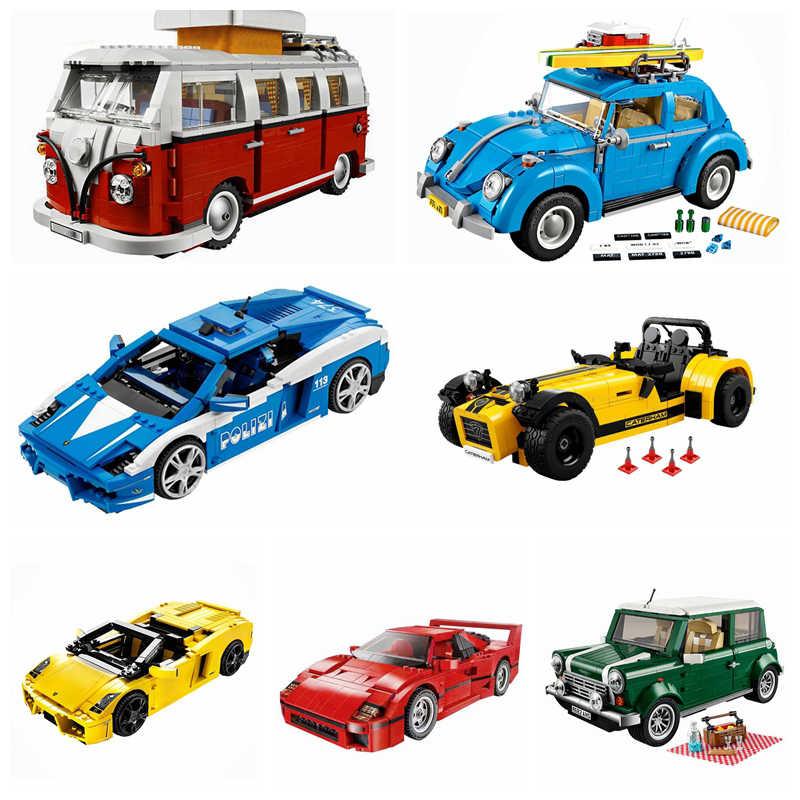 قفل السيارات تكنيك ميني كوبر T1 شاحنة التخييم سوبر الرياضة سباق السيارات الاطفال فتاة لعب للبنين الأطفال قفل التقنيات لعبة