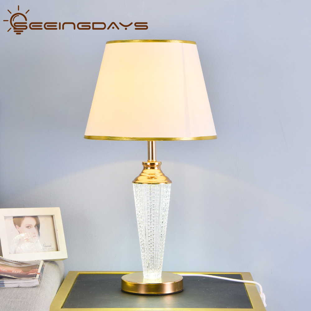 Free Shipping Shine Up And Down Crystal Glass <font><b>Led</b></font> Table Lamp For Bedroom Golden Edge Lampshade Bedside Lamp Night Lamp <font><b>220v</b></font> 110v image