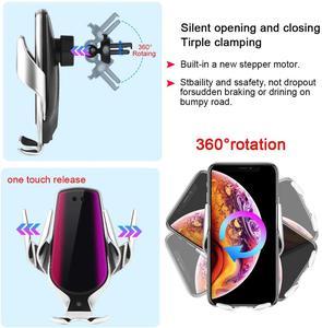 Image 3 - DCAE 10W 빠른 무선 충전기 자동차 홀더 자동 클램핑 적외선 센서 Qi GPS 공기 환기 마운트 휴대 전화 브래킷 스탠드