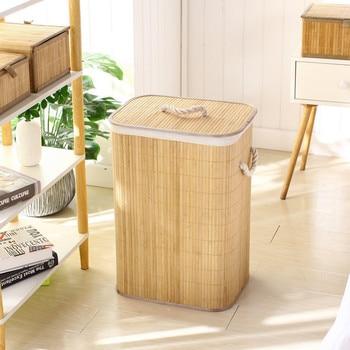 Storage Folding Laundry Basket Organizer Hand-Woven Large Capacity Bamboo Baskets Cover Household Clothes Toys Storage Bucket