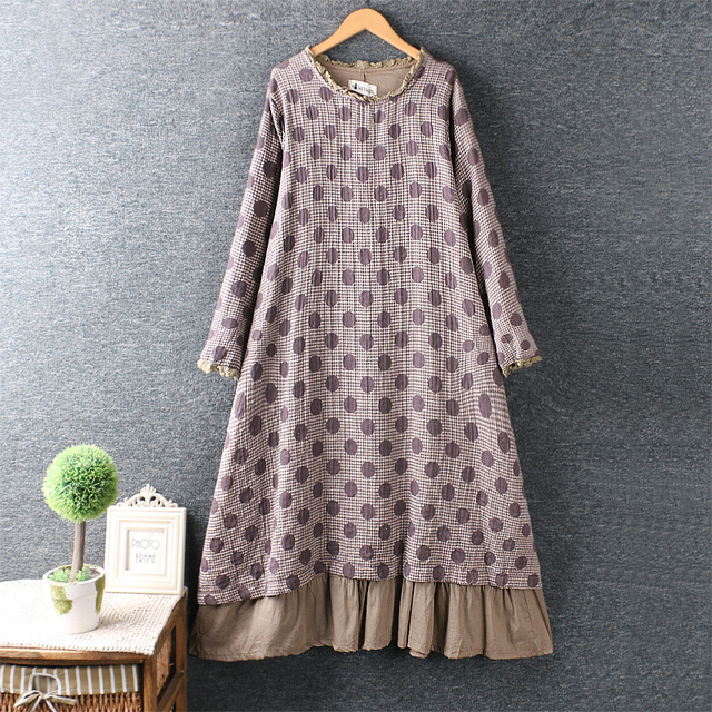 yarn o-neck polka dots layers dress 3
