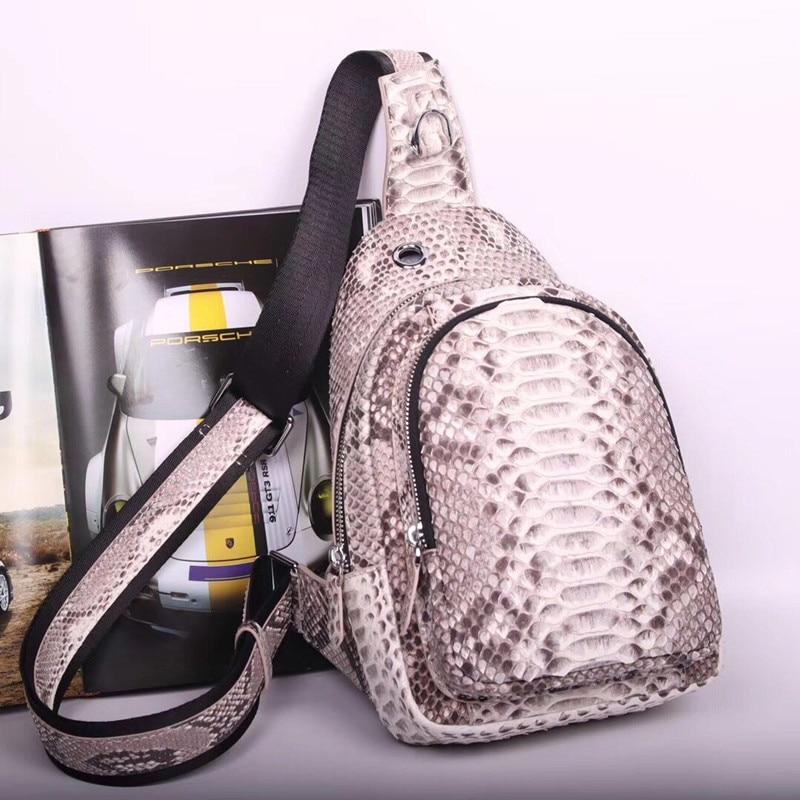Authentic Real Python Skin Men Casual Chest Bag Small Travel Messenger Bag Exotic Genuine Snakeskin Male Crossbody Shoulder Bag