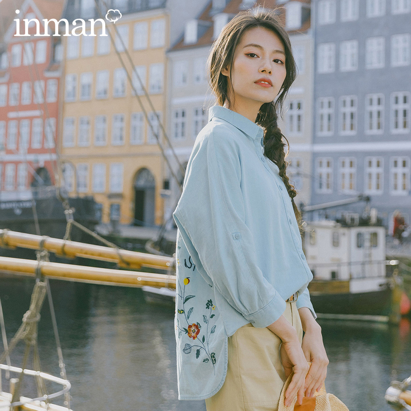 INMAN 2026 Spring New Arrival Literary Cotton Embroidered Loose Comfortable All-match Youth Long Sleeve Blouse