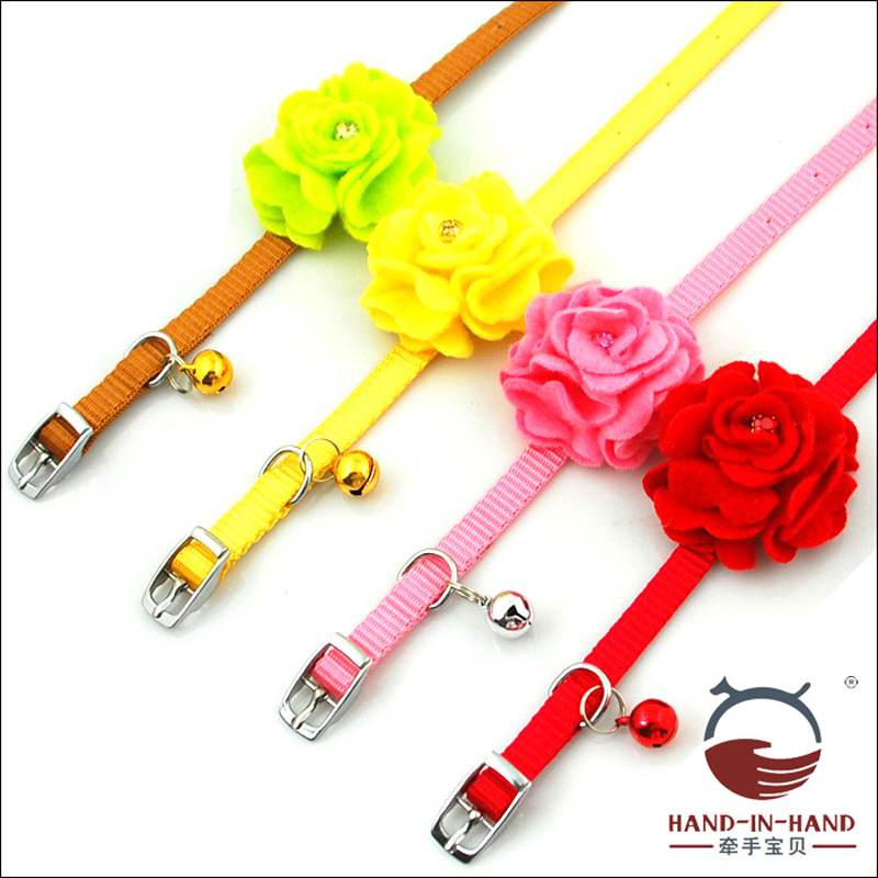Hand-in-hand Pet Supplies Cat Dog Collar Collar 1.0 Cm Dazzling Suede Rose Leather Buckle Small Neck Band